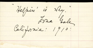 ZONA GALE - AUTOGRAPH QUOTATION SIGNED 1910