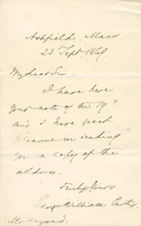 GEORGE WILLIAM CURTIS - AUTOGRAPH LETTER SIGNED 09/23/1869