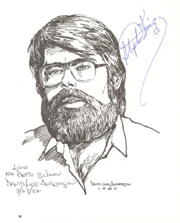 STEPHEN KING - INSCRIBED PRINTED ART SIGNED IN INK 07/23/1982 CO-SIGNED BY: DAVID LEE ANDERSON