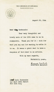ARCHIBALD MacLEISH - TYPED LETTER SIGNED 08/29/1944