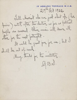 GEORGE BERNARD SHAW - AUTOGRAPH LETTER SIGNED 10/27/1922