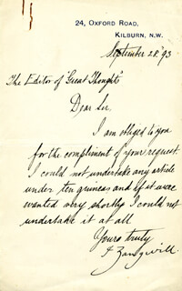 ISRAEL ZANGWILL - AUTOGRAPH LETTER SIGNED 09/28/1893