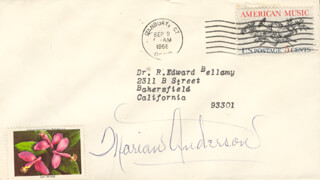 Autographs: MARIAN ANDERSON - ENVELOPE SIGNED