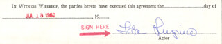 IDA LUPINO - PRINTED DOCUMENT FRAGMENT SIGNED IN INK 07/18/1960