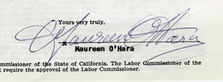 MAUREEN O'HARA - PRINTED DOCUMENT FRAGMENT SIGNED IN INK