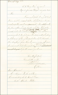 Autographs: COMMODORE CHARLES H. B. CALDWELL - MANUSCRIPT DOCUMENT SIGNED 08/23/1872