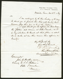 REAR ADMIRAL WILLIAM RADFORD - MANUSCRIPT LETTER SIGNED 11/02/1869