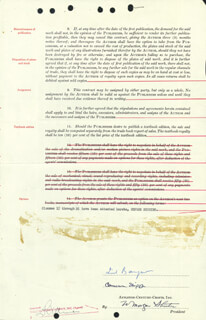 LIONEL BARRYMORE - CONTRACT SIGNED 06/28/1949 CO-SIGNED BY: CAMERON SHIPP, WILLIAM MORGAN SHUSTER