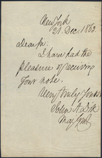 Autographs: MAJOR GENERAL JOHN A. DIX - AUTOGRAPH LETTER SIGNED 12/21/1863