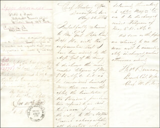 Autographs: GOVERNOR NATHANIEL BRADLEY BAKER - DOCUMENT SIGNED 08/14/1868 CO-SIGNED BY: COLONEL THOMAS DUNCAN