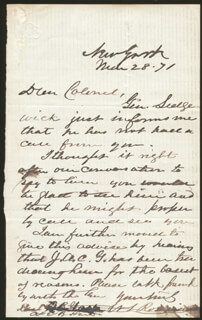 MAJOR GENERAL WILLIAM S. OLD ROSY ROSECRANS - AUTOGRAPH LETTER SIGNED 03/28/1871
