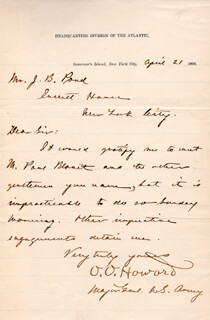 MAJOR GENERAL OLIVER O. HOWARD - MANUSCRIPT LETTER SIGNED 04/21/1890