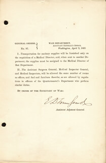 Autographs: BRIGADIER GENERAL EDWARD DAVIS TOWNSEND - DOCUMENT SIGNED 04/03/1863