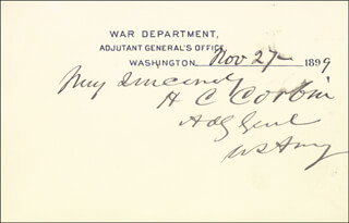 Autographs: LT. GENERAL HENRY C. CORBIN - PRINTED CARD SIGNED IN INK 11/27/1899