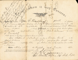 Autographs: MAJOR GENERAL ROBERT A. CAMERON - PRINTED DOCUMENT SIGNED IN INK 12/20/1862