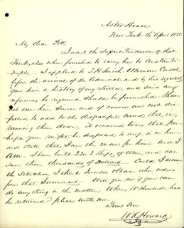 COLONEL WILLIAM A. HOWARD - AUTOGRAPH LETTER SIGNED 04/16/1858