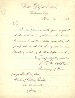 WILLIAM C. ENDICOTT - MANUSCRIPT LETTER SIGNED 12/02/1885