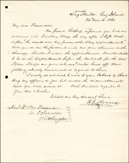 COLONEL WILLIAM A. HOWARD - AUTOGRAPH LETTER SIGNED 03/24/1861  - HFSID 174714