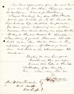 COLONEL WILLIAM A. HOWARD - AUTOGRAPH LETTER SIGNED 05/31/1861  - HFSID 174716