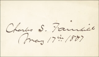 Autographs: CHARLES S. FAIRCHILD - SIGNATURE(S) 05/17/1887