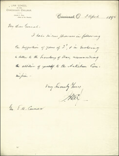 Autographs: MAJOR GENERAL JACOB D. COX - AUTOGRAPH LETTER SIGNED 04/03/1894