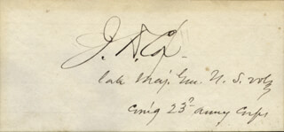 Autographs: MAJOR GENERAL JACOB D. COX - SIGNATURE(S)
