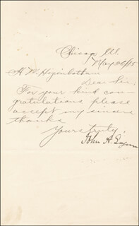 MAJOR GENERAL JOHN A. LOGAN - MANUSCRIPT LETTER SIGNED 05/26/1885