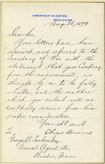 CHARLES DEVENS - MANUSCRIPT LETTER SIGNED 08/25/1879
