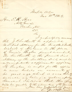 GENERAL GEORGE E. SPENCER - AUTOGRAPH LETTER SIGNED 11/13/1869