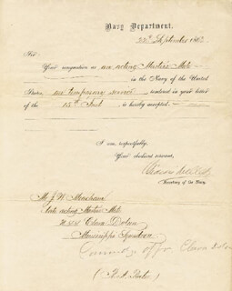 Autographs: GIDEON WELLES - NAVAL APPOINTMENT SIGNED 09/22/1863