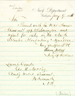 GIDEON WELLES - MANUSCRIPT LETTER SIGNED 01/09/1865 CO-SIGNED BY: REAR ADMIRAL THEODORUS BAILEY