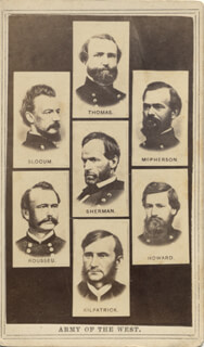 Autographs: GENERAL WILLIAM T. SHERMAN - PHOTOGRAPH UNSIGNED WITH JUDSON KILPATRICK, LOVELL H. ROUSSEAU, JAMES B. MCPHERSON, HENRY W. SLOCUM,  OLIVER O. HOWARD, GEORGE HENRY ROCK OF CHICKAMAUGA THOMAS