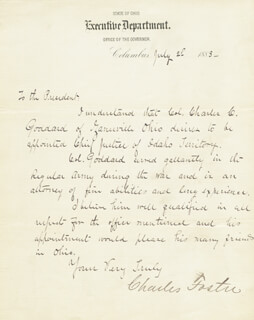 Autographs: CHARLES W. FOSTER - MANUSCRIPT LETTER SIGNED 07/02/1883