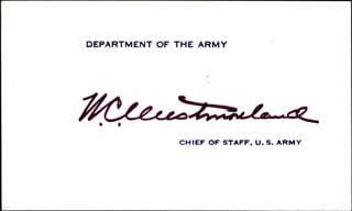 Autographs: GENERAL WILLIAM C. WESTMORELAND - CALLING CARD SIGNED