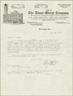 BRIGADIER GENERAL HARRISON GRAY OTIS - TYPED LETTER SIGNED 01/20/1913