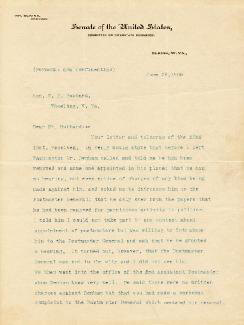 Autographs: STEPHEN B. ELKINS - TYPED LETTER SIGNED 06/26/1908