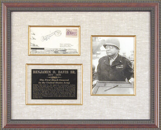 Autographs: BRIGADIER GENERAL BENJAMIN O. DAVIS SR. - COMMEMORATIVE ENVELOPE SIGNED