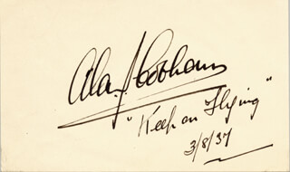 Autographs: SIR ALAN J. COBHAM - AUTOGRAPH QUOTATION SIGNED 03/08/1937