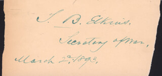 Autographs: STEPHEN B. ELKINS - CLIPPED SIGNATURE 03/02/1893