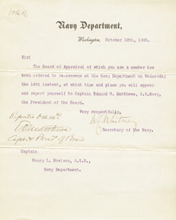 WILLIAM COLLINS WHITNEY - TYPED LETTER SIGNED 10/12/1885 CO-SIGNED BY: ADMIRAL EDMUND O. MATTHEWS