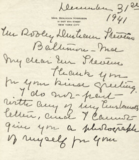 FIRST LADY MARY LORD HARRISON - AUTOGRAPH LETTER SIGNED 12/31/1941