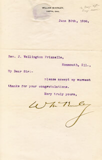 Autographs: PRESIDENT WILLIAM McKINLEY - TYPED LETTER SIGNED 06/30/1896