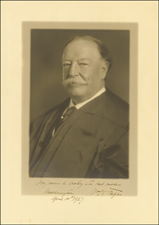 PRESIDENT WILLIAM H. TAFT - AUTOGRAPHED INSCRIBED PHOTOGRAPH 04/14/1927