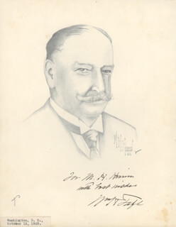 Autographs: PRESIDENT WILLIAM H. TAFT - INSCRIBED ORIGINAL ART SIGNED CIRCA 1929 CO-SIGNED BY: M. H. HERRIN