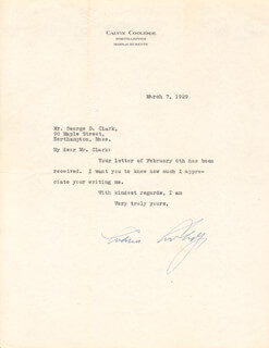 PRESIDENT CALVIN COOLIDGE - TYPED LETTER SIGNED 03/07/1929
