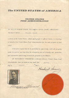 Autographs: PRESIDENT HERBERT HOOVER - DOCUMENT SIGNED 01/02/1919 CO-SIGNED BY: FRANCIS ALMARD