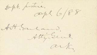 AUGUSTUS H. GARLAND - INSCRIBED CARD SIGNED 04/06/1888