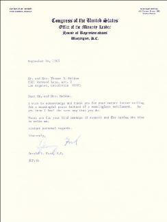 PRESIDENT GERALD R. FORD - TYPED LETTER SIGNED 09/14/1965