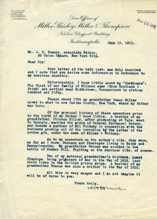 Autographs: WILLIAM HENRY HARRISON MILLER - TYPED LETTER SIGNED 06/19/1911