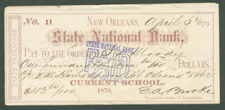 EDWARD A. BURKE - AUTOGRAPHED SIGNED CHECK 04/05/1879